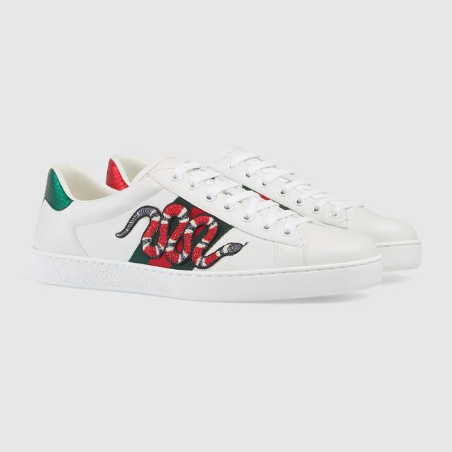 gucci white snake ace sneakers for men id brand concept. Black Bedroom Furniture Sets. Home Design Ideas